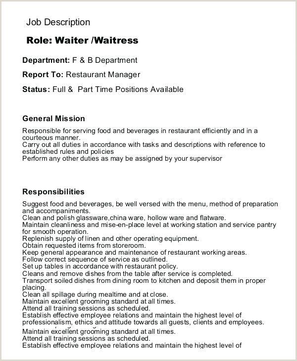 Waitress Job Description Template Waitress Job Description