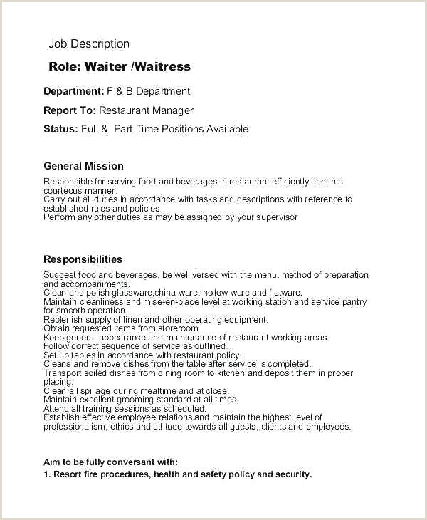 Waiter Job Description Resume Waitress Job Description Template Waitress Job Description