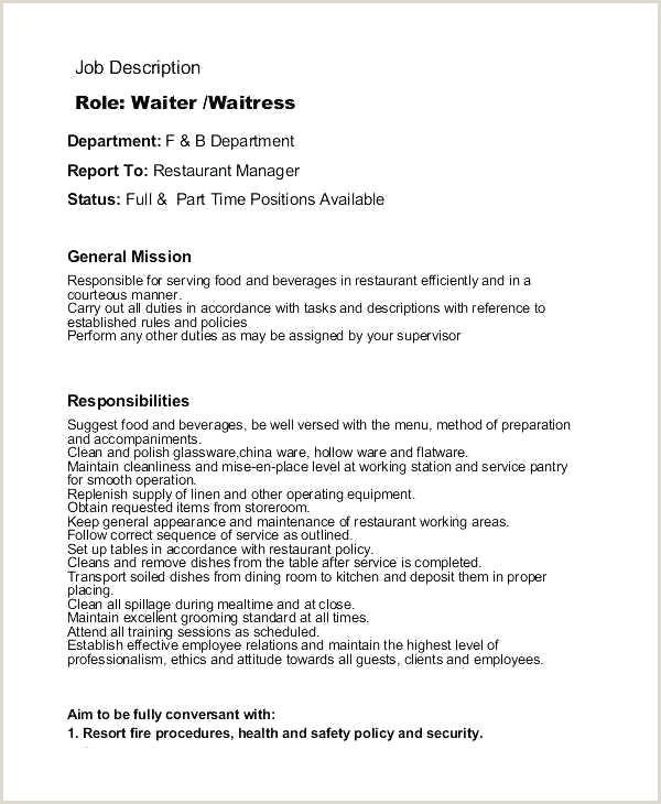97 Waitress Responsibilities Resume Waiter Waitress