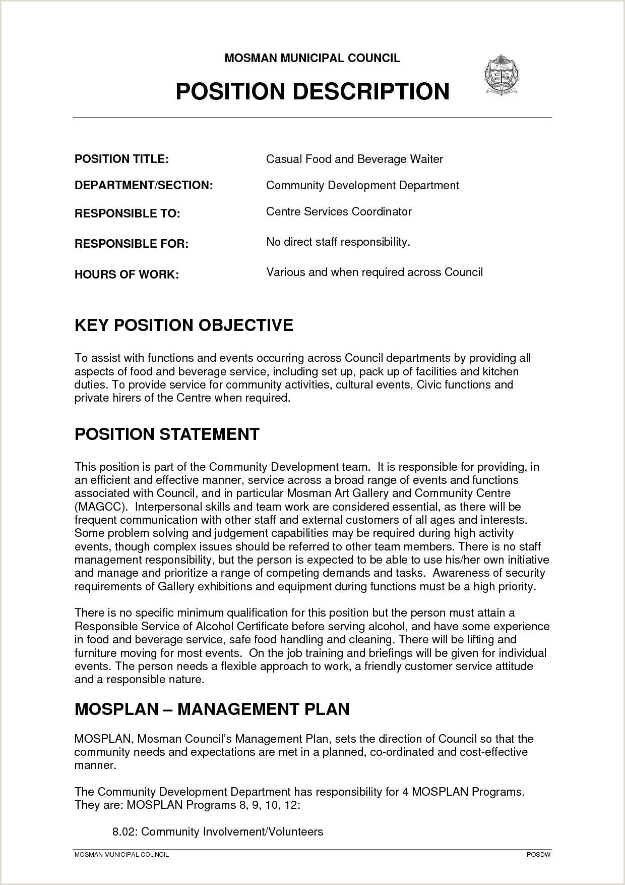 Waitress Description for Resume Pin by Waldwert Site On Resume formats