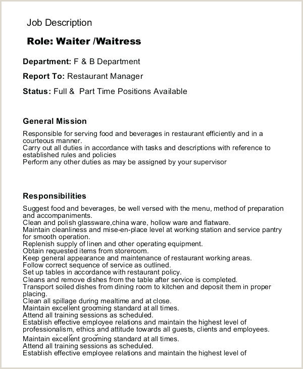 Waitress Job Descriptions Waitress Job Description Template