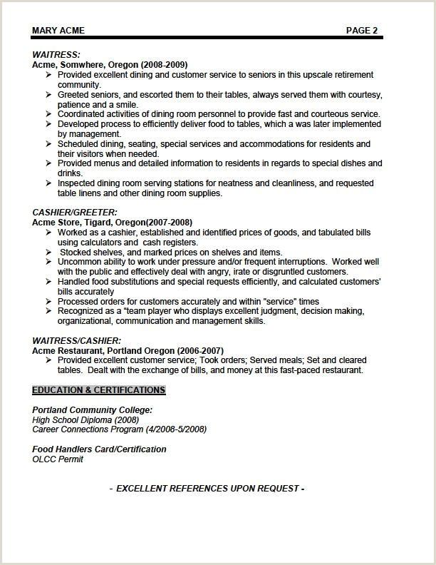 Waitress Resume Examples Examples Waitress Job Description