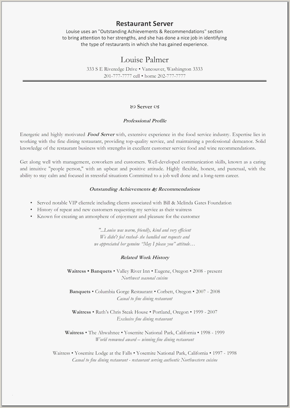 Waitress Job Resume Cover Letter for Restaurant Server Awesome New Sample Resume