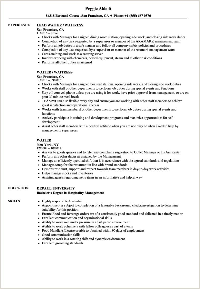 Waitress Resume Job Description Waiter Resume Samples Velvet Jobs How to Write A Waitress S
