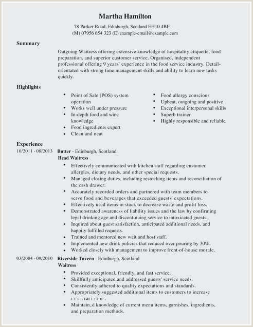 Waitress Resume Sample Beautiful Waitress Resume Samples
