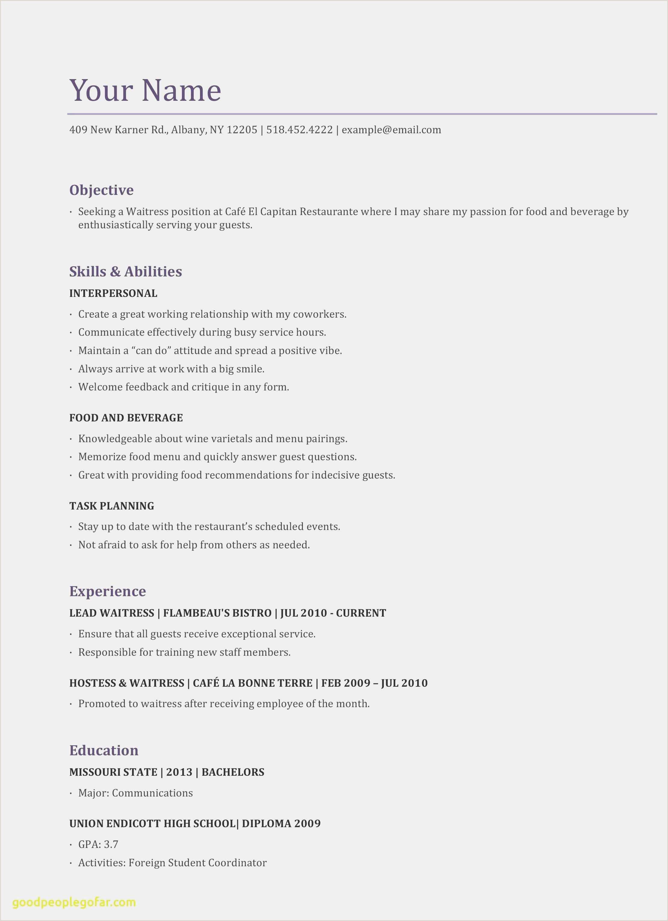 Waitress Resume Skills Free Download 57 Resume Templat Professional