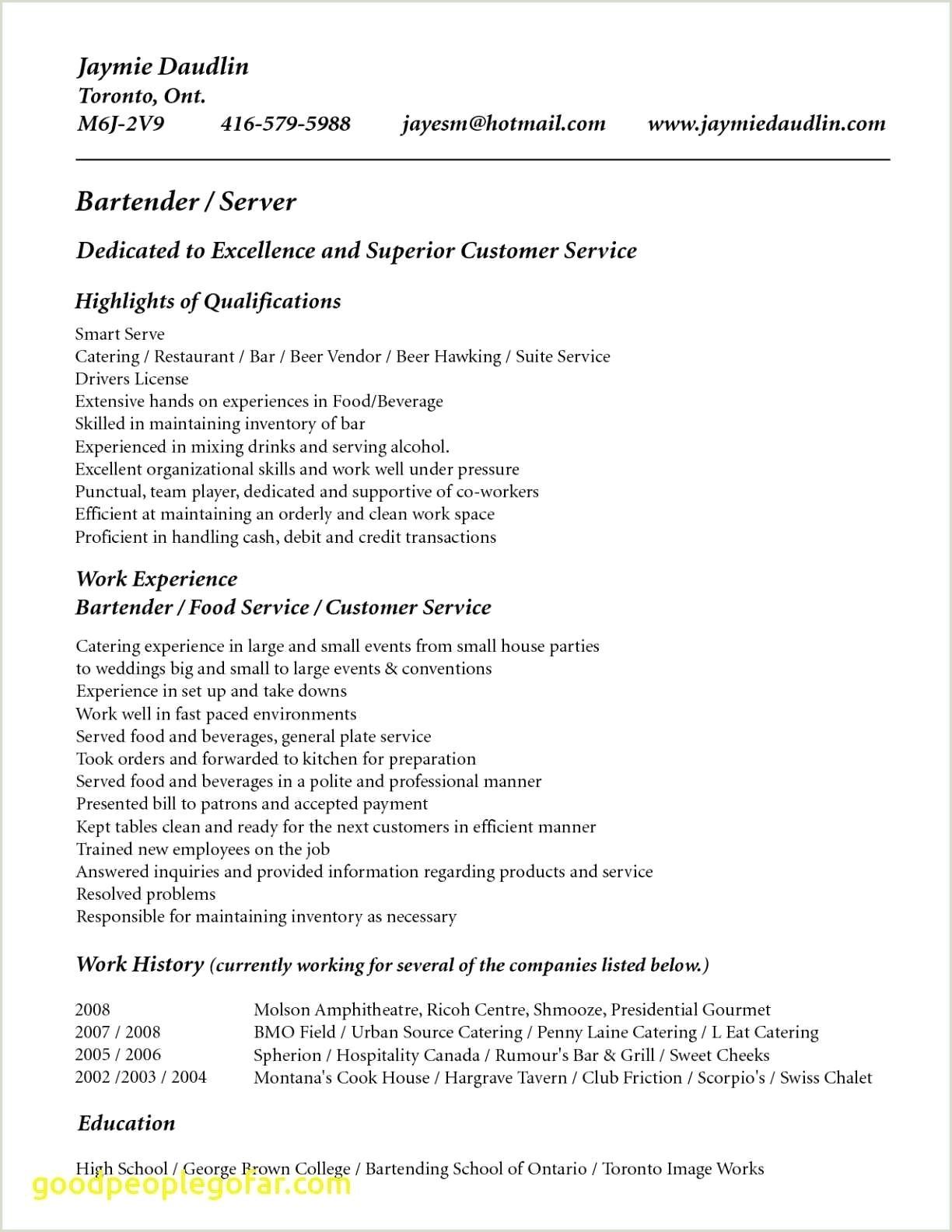 Waitress Resume Skills Unique Waitress Resume Examples