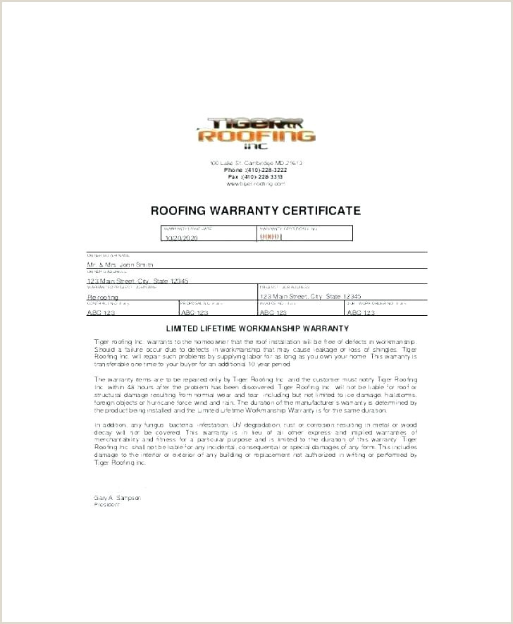 Warranty form Template Word Installation Warranty Template Contract format Simple