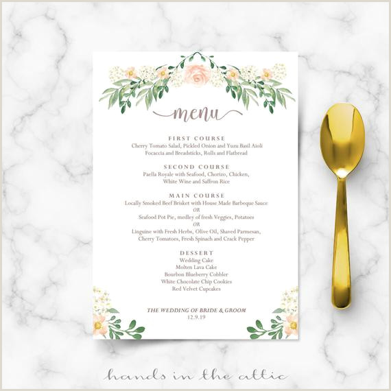 Rustic wedding menu rehearsal dinner menu template sit down menus home wedding printable menu card templates floral editable DIGITAL