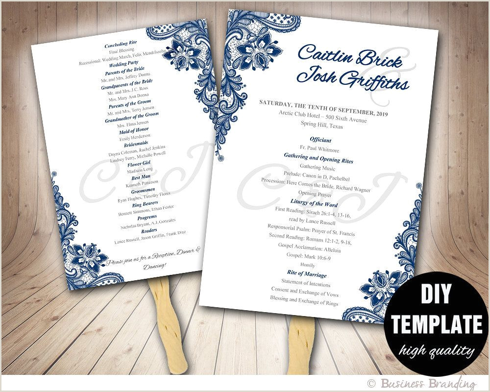 Wedding Program Templates Etsy Blue Wedding Programs Fan Template Diy Instant Download
