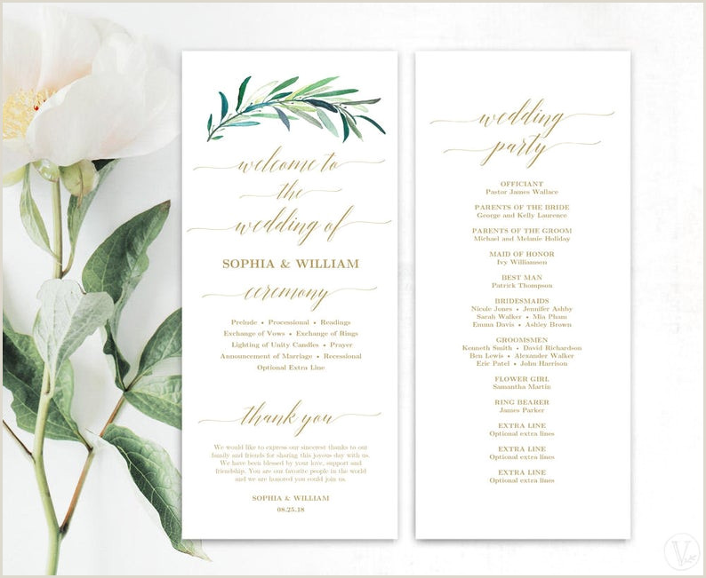 Wedding Program Templates Etsy Greenery Wedding Program Printable Wedding Program Template Wedding Programs Template Editable Text Tall Eucalyptus Gold Vw35