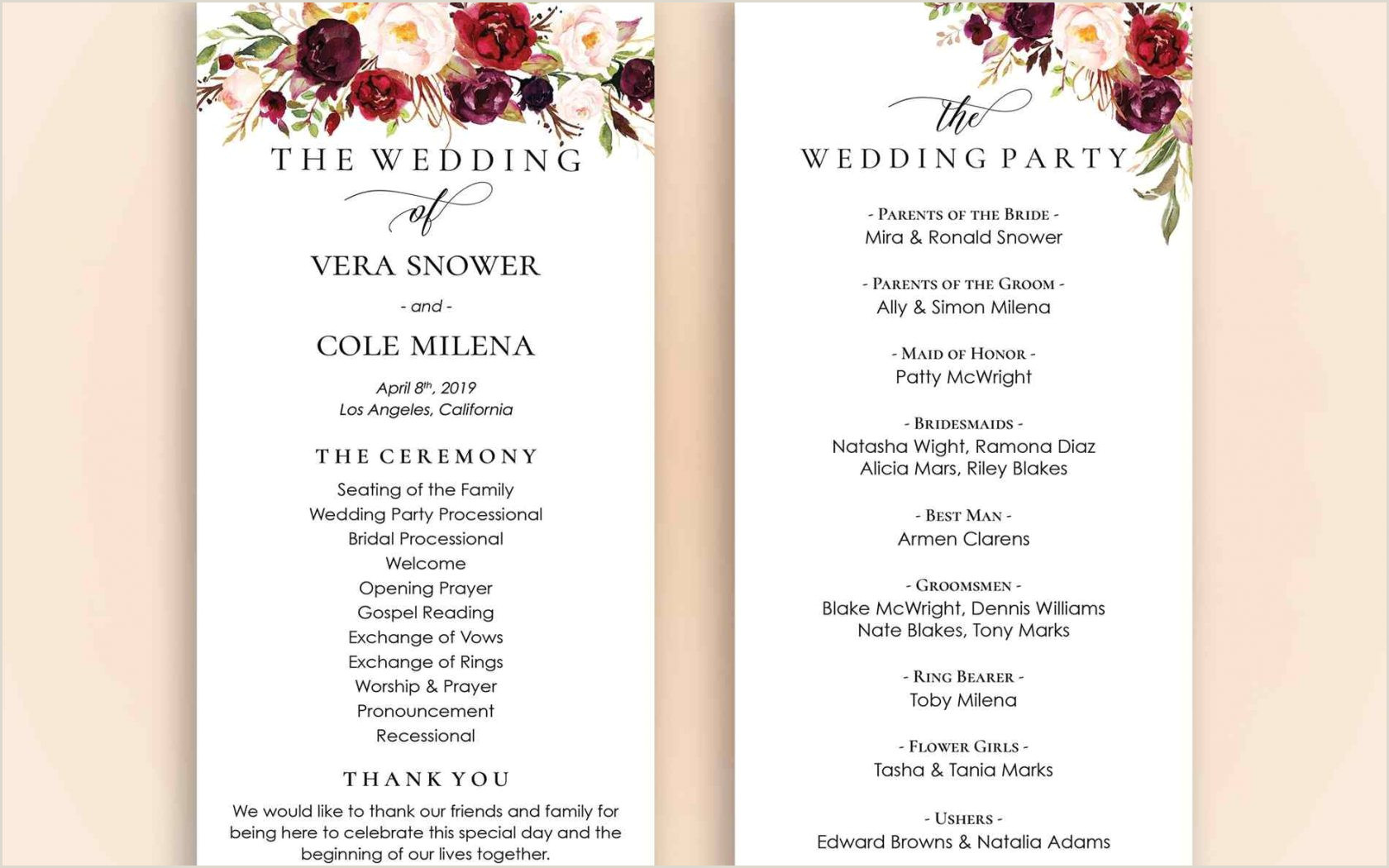 Wedding Program Templates Etsy Invitations Inspiring Free Wedding Program Templates