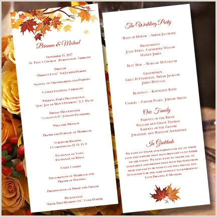 "Wedding Program Templates Etsy Printable Wedding Ceremony Program Template ""falling Leaves"