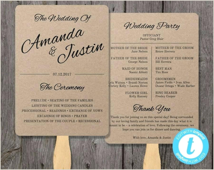 Wedding Program Templates Etsy Unique Program Templates Free Download Wedding Fan Template