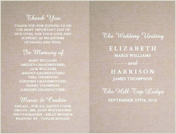 Wedding Program Templates Etsy Wedding Program Thank You Template Paper Size – Jwintz