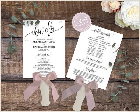 Printable We Do Wedding Program Template Simple Editable Wedding Ceremony Fan Calligraphy & Heart Wedding Itinerary Elegant Wedding Program