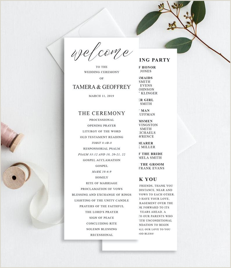 Wedding Reception Program Templates Wedding Programs Template Printable Wedding Program Calligraphy Wedding Ceremony Program Template Minimalist Wedding Simple Rc