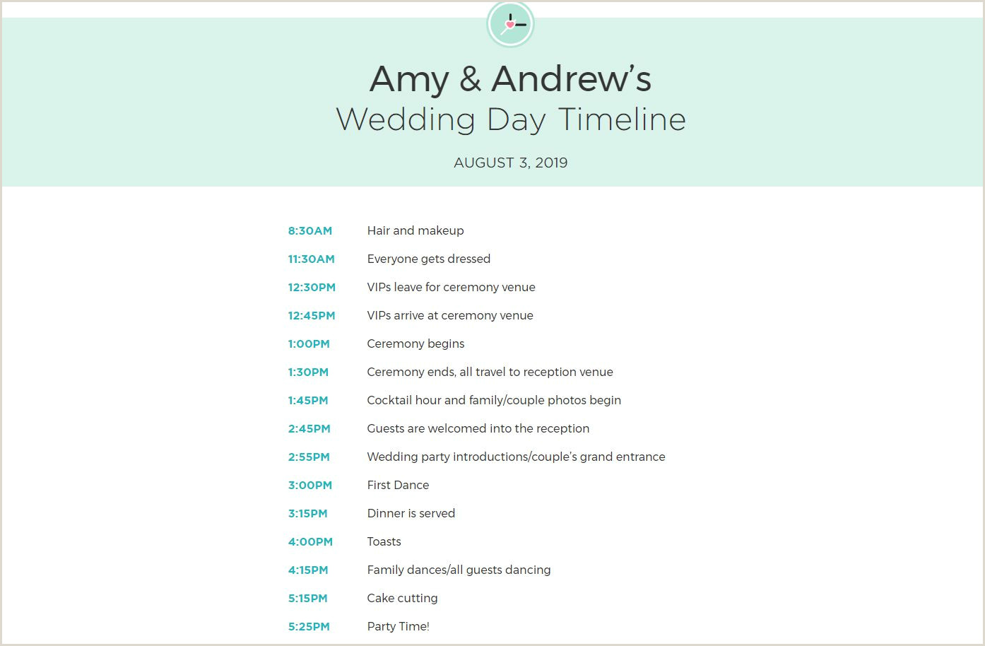 Wedding Reception Timeline Template Pdf Free Wedding Itinerary Templates and Timelines