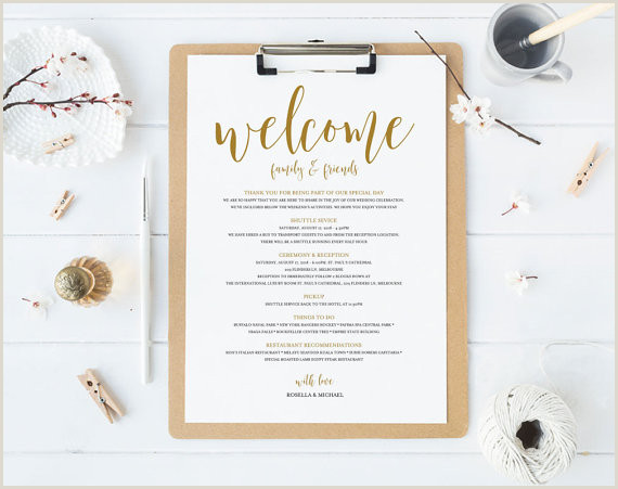 Gold Wedding Itinerary Printable Itinerary Wel e Bag