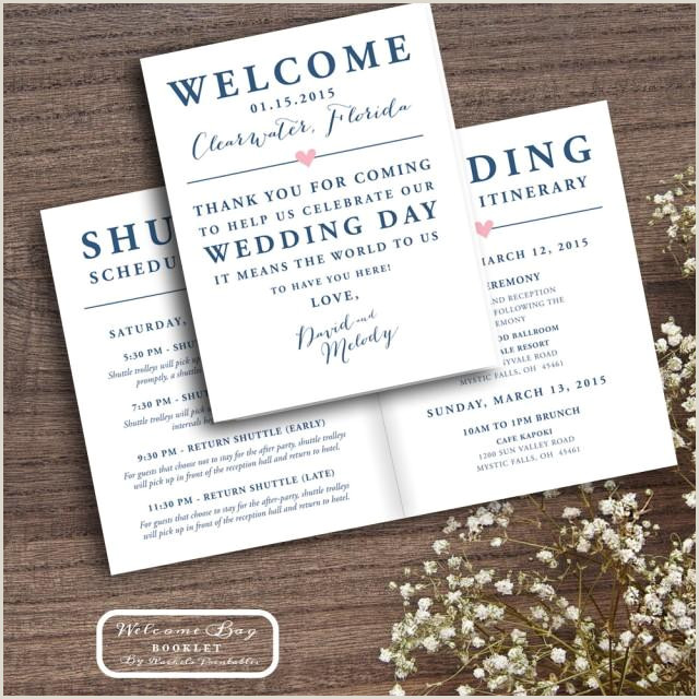 Printable Wedding Wel e Bag Booklet Note Itinerary Wedding