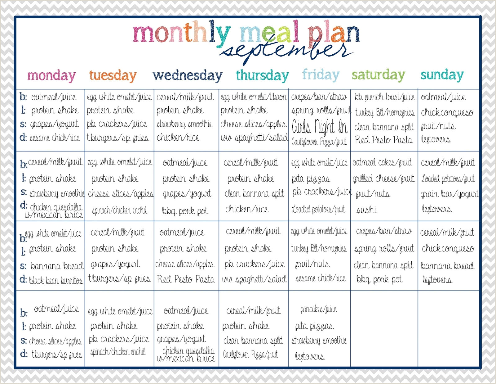 Weight Watchers Meal Planner Template 45 Printable Weekly Meal Planner Templates