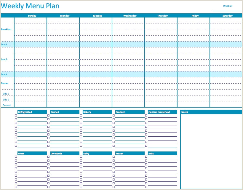 Weight Watchers Menu Planner Template 45 Printable Weekly Meal Planner Templates