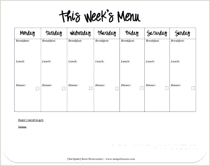 7 Day Menu Template Lunch O 5 Day Menu Template Blank 5 Day