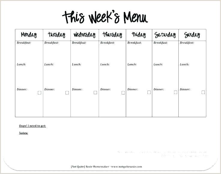 Weight Watchers Menu Planner Template 7 Day Menu Template Lunch O 5 Day Menu Template Blank 5 Day