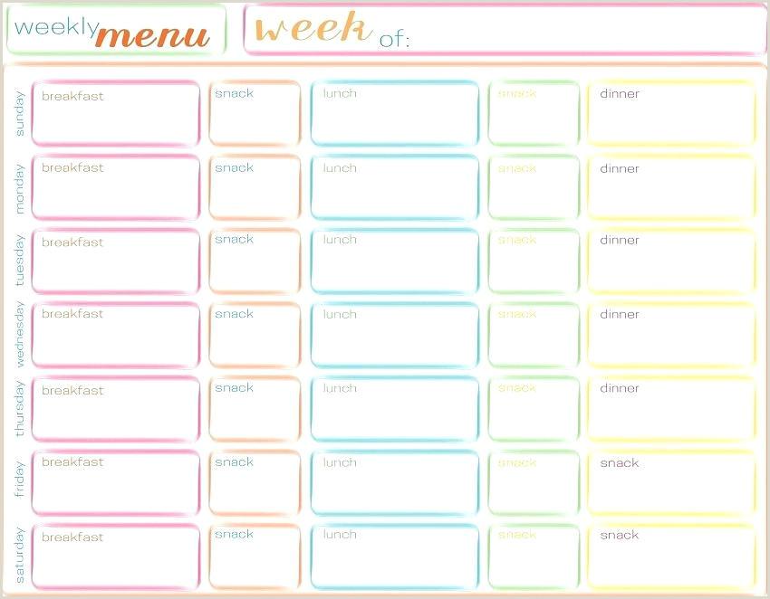 Weight Watchers Menu Planner Template Diet Planner Printable