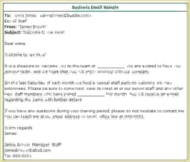 Template For New Employee Inspirational Team Email Download