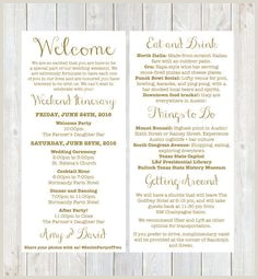 Welcome Bag Itinerary Template 42 Best Wedding Weekend Itinerary Images