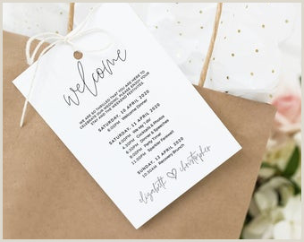 Welcome Bag Itinerary Template Destination Wedding Itinerary