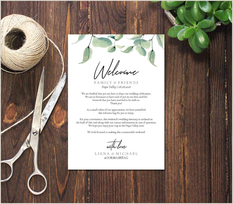 Editable PDF Wel e Weekend Card Wel e Bag Note Weekend invite Template Instant Events card DIY Greenery Printable DP410 40