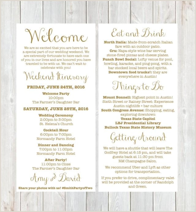 Welcome Bag Itinerary Template Hotel Wel E Letter