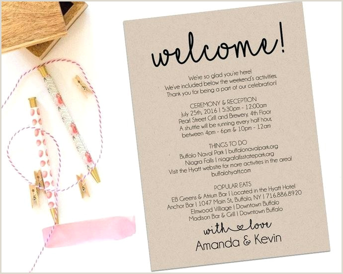 Welcome Bag Itinerary Template Wedding Wel E Bag Letter E Unique Gold E Note