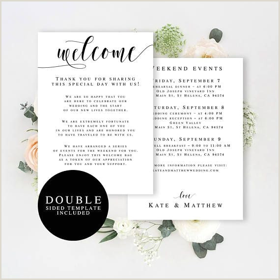 Welcome Bag Itinerary Template Wedding Wel E Bag Note Printable Wedding Template