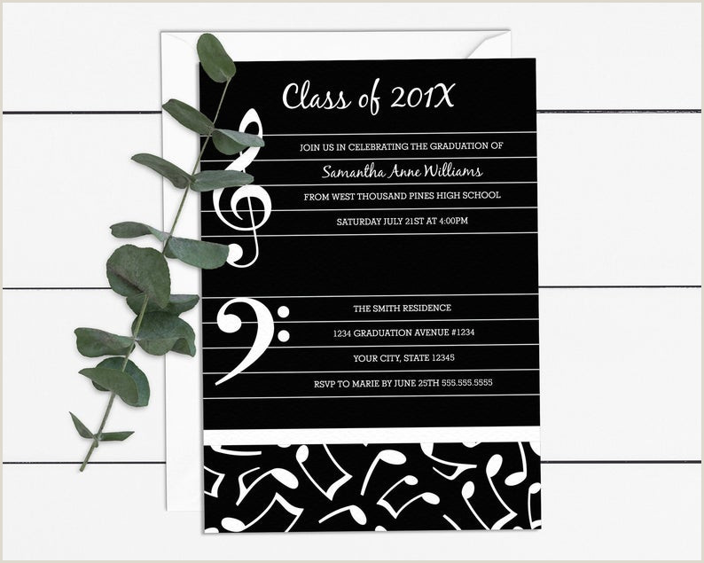 Music Theme Graduation Party Invitation Template 5x7 Digital Invite DIY Printable with Editable Text MU01