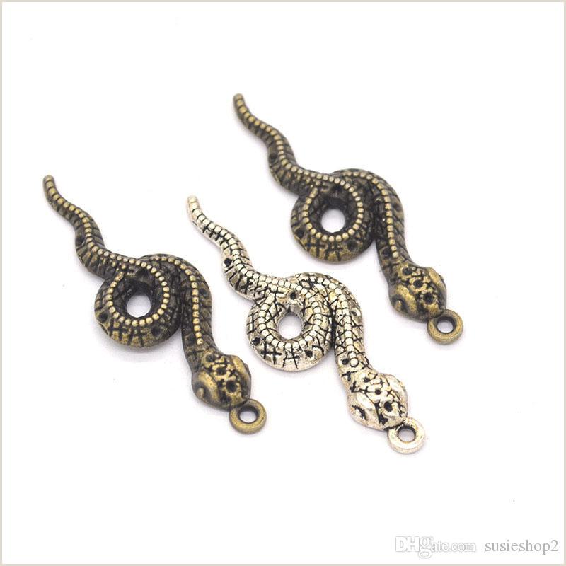100 pcs lot snake charms pendant 47 15mm antique silver antique bronze good details good for craft