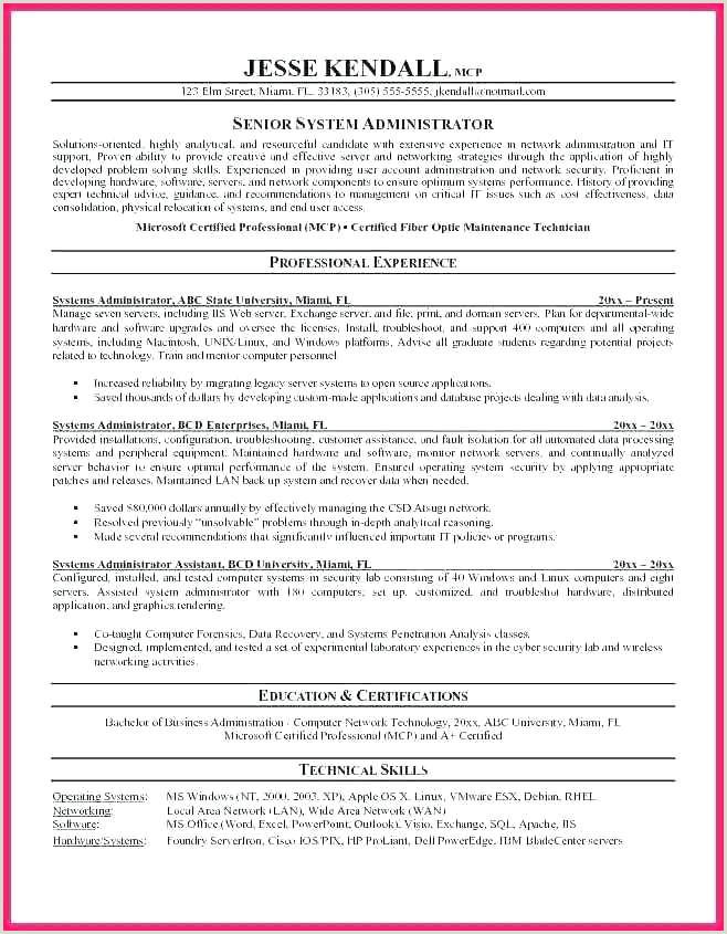 system administrator resume template – stagingusasportfo