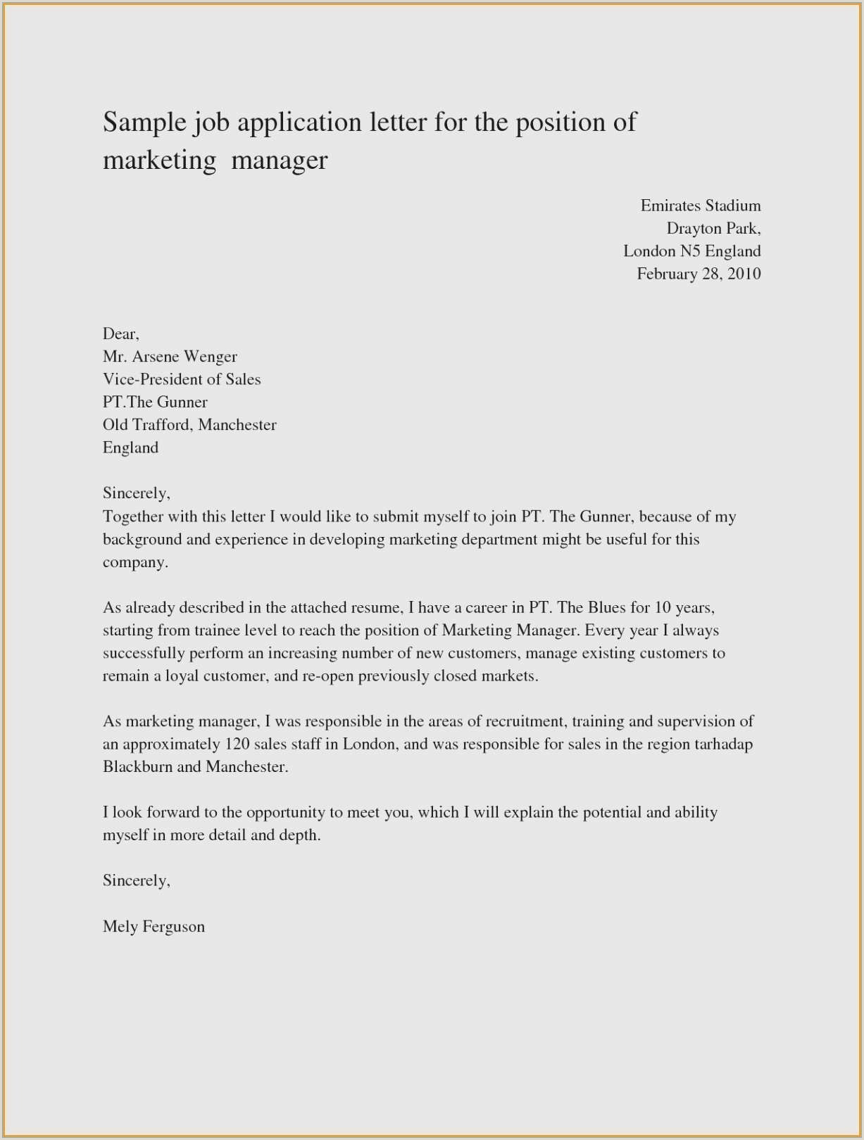 Unique Great Cover Letter Examples