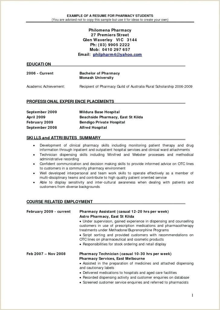 Pharmacist Curriculum Vitae Template Pharmacy Examples