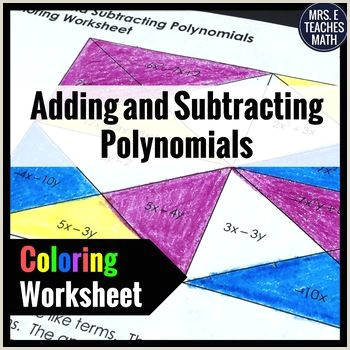 Adding And Subtracting Polynomials Color By Number Worksheet Answers
