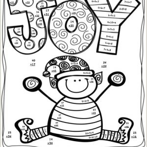 Addition Color by Number Worksheets Christmas