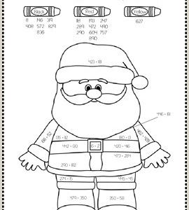 Christmas Color by Number Worksheets for Kindergarten