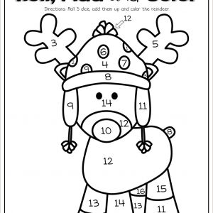 Christmas Color by Number Worksheets for Kindergarten