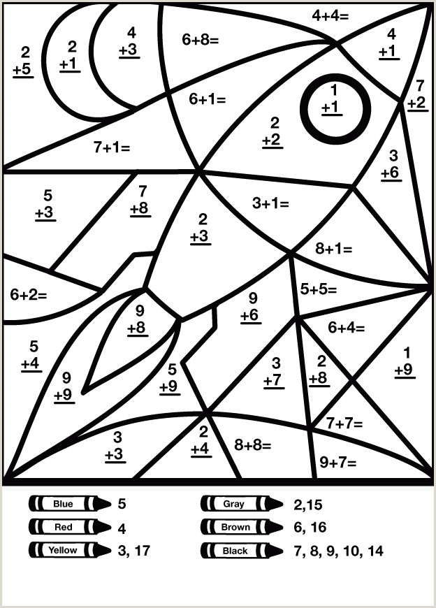 Color By Number Addition Coloring Pages