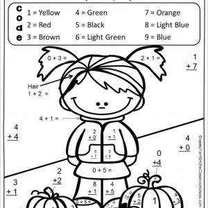 Color by Number Addition Worksheets 1st Grade