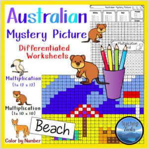 Color by Number Beach Worksheets