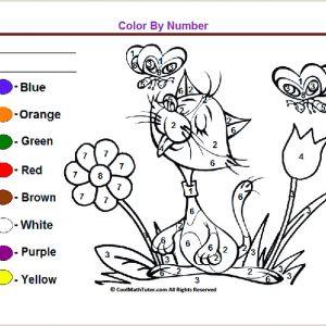 Color by Number Dinosaur Worksheet