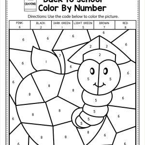 Color by Number Free Worksheets for Kindergarten
